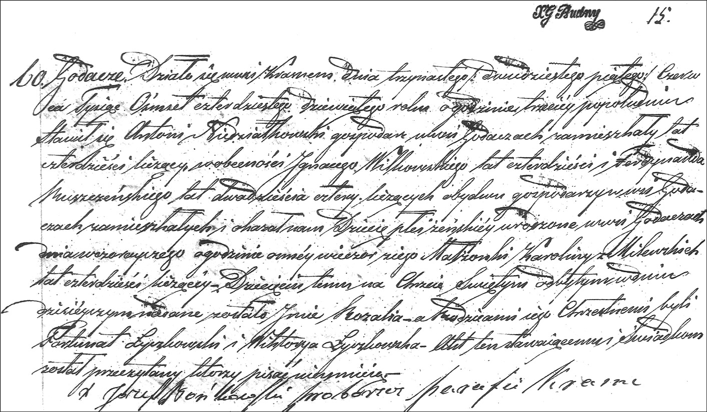 The Birth and Baptismal Record of Rozalia Niedzialkowska - 1849