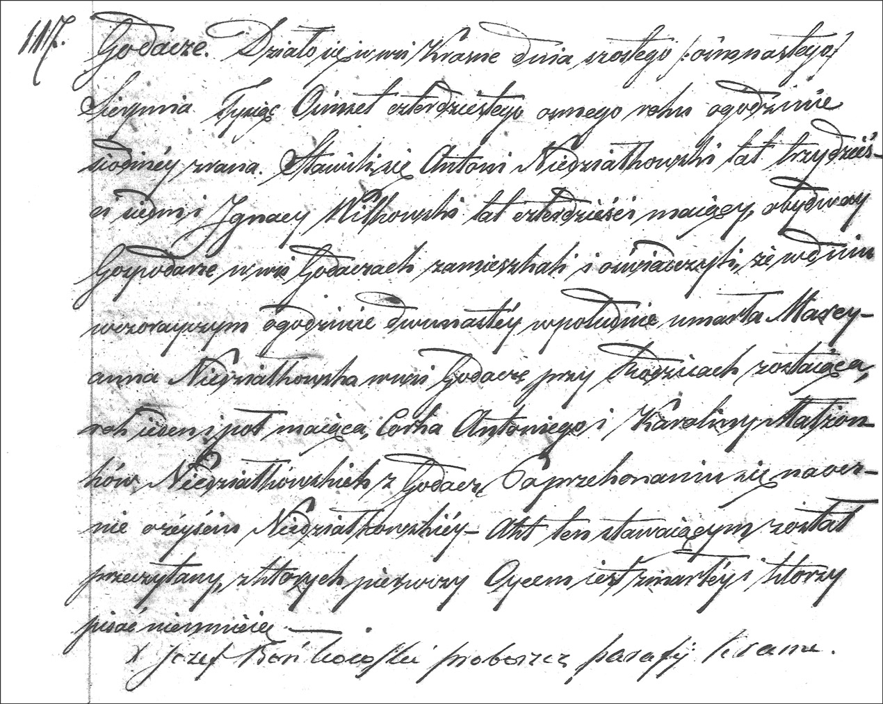 The Death and Burial Record of Marianna Niedzialkowska - 1848