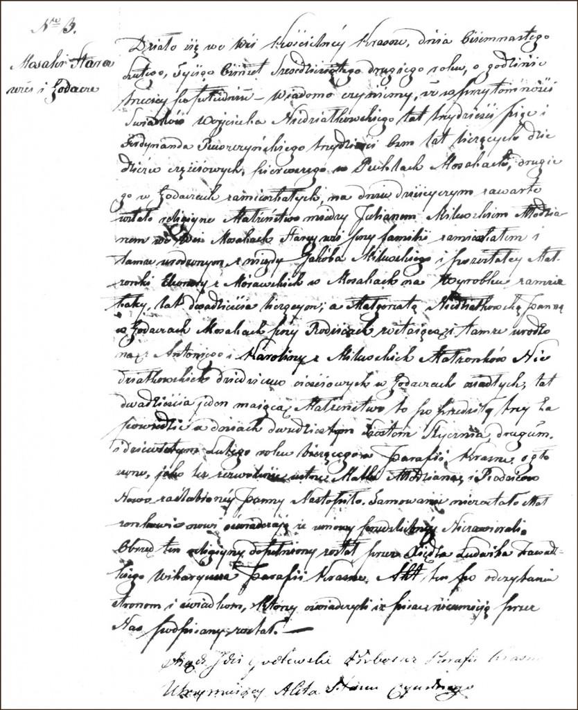 The Marriage Record of Julian Milewski and Małgorzata Niedziałkowska -1862