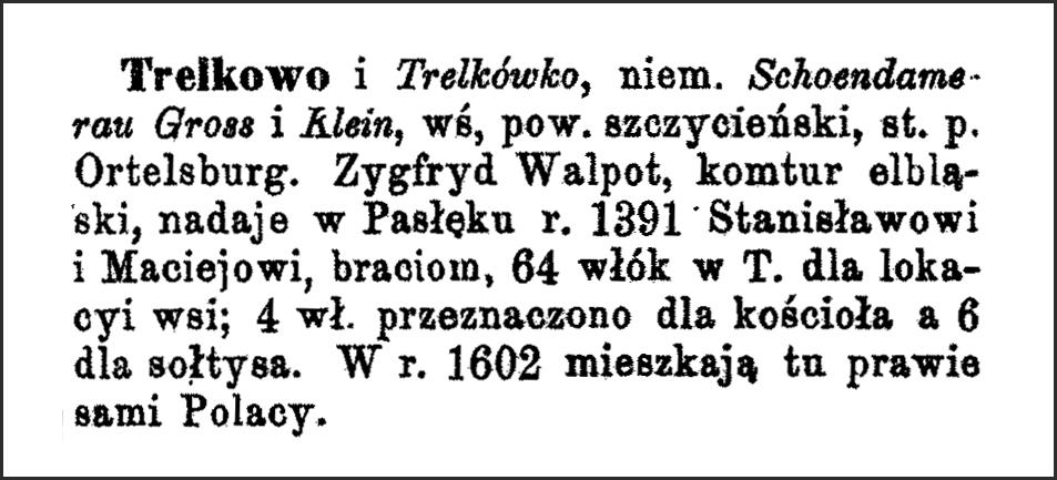 Slownik Geograficzny Entry for Trelkowo