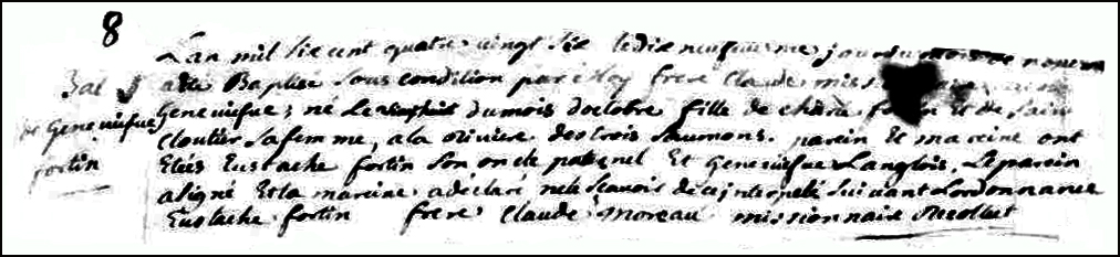 The Birth and Baptismal Record of Genevieve Fortin - 1686