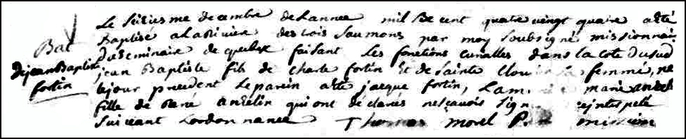 The Birth and Baptismal Record of Jean Baptiste Fortin - 1684