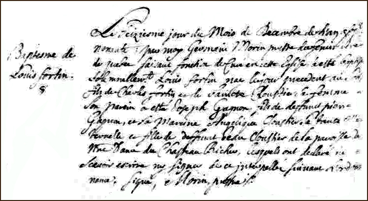 The Birth and Baptismal Record of Louis Fortin - 1690