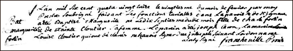 The Birth and Baptismal Record of Marguerite Fortin - 1693