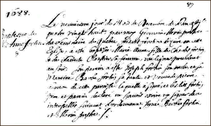 The Birth and Baptismal Record of Marie Anne Fortin - 1688
