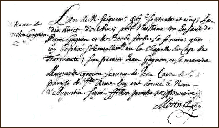 The Birth and Baptismal Record of Augustin Gagnon - 1675