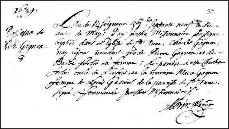 The Birth and Baptismal Record of Charles Gagnon - 1679