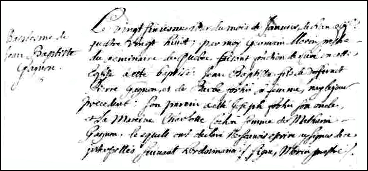 The Birth and Baptismal Record of Jean Baptiste Gagnon - 1688