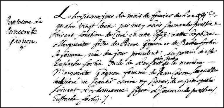 The Birth and Baptismal Record of Marguerite Gagnon - 1682
