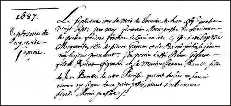 The Birth and Baptismal Record of Marguerite Gagnon - 1687