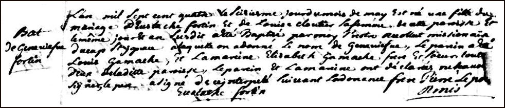 The Birth and Baptismal Record of Genevieve Fortin - 1704