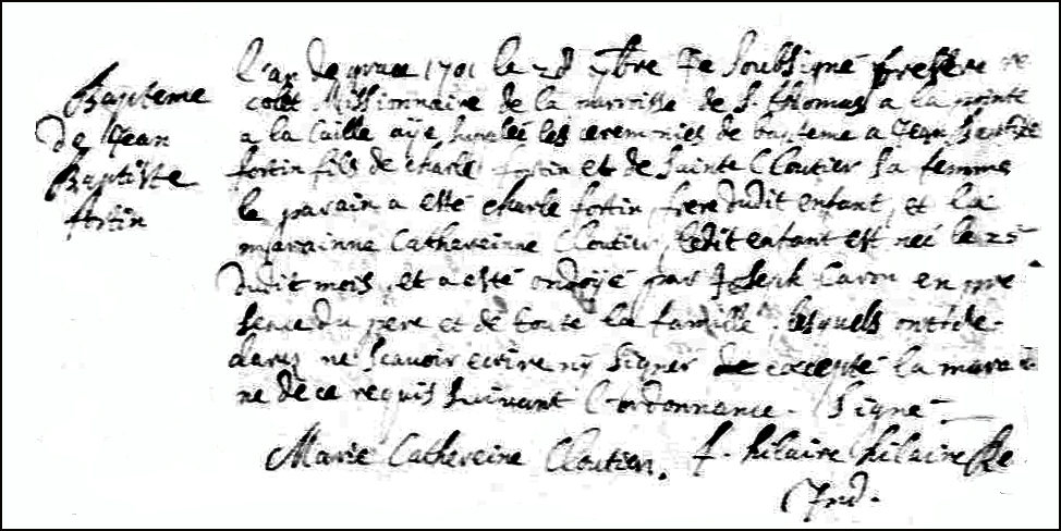 The Birth and Baptismal Record of Jean Baptiste Fortin - 1701