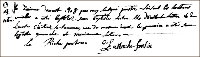 The Birth and Baptismal Record of Jean Baptiste Fortin - 1708