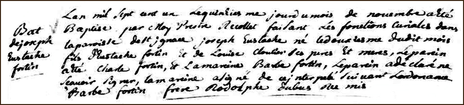 The Birth and Baptismal Record of Joseph Eustache Fortin - 1701