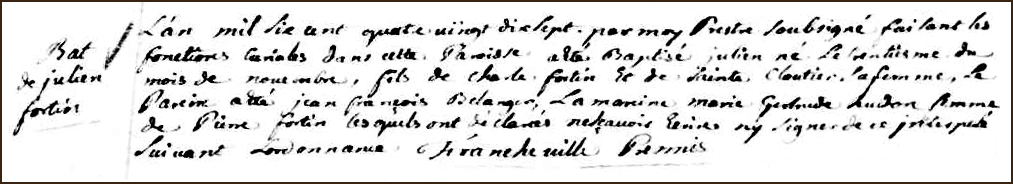 The Birth and Baptismal Record of Julien Fortin - 1697