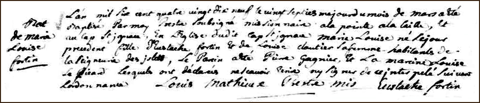 The Birth and Baptismal Record of Marie Louise Fortin - 1699