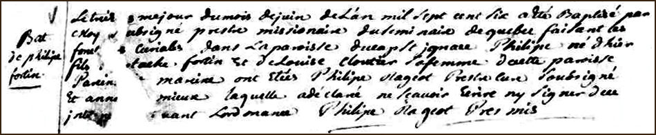 The Birth and Baptismal Record of Philippe Fortin - 1706