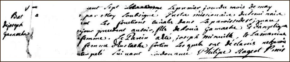 The Birth and Baptismal Record of Joseph Gamache - 1707