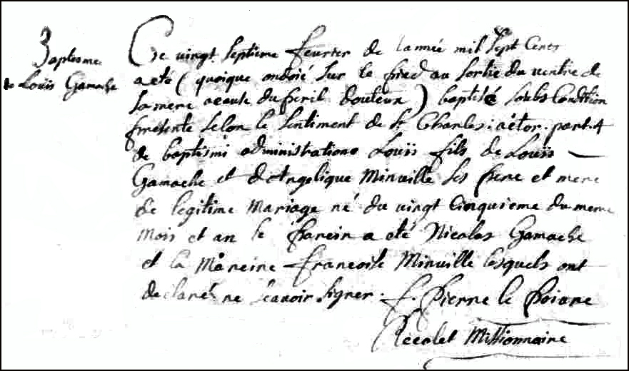 The Birth and Baptismal Record of Louis Gamache - 1703