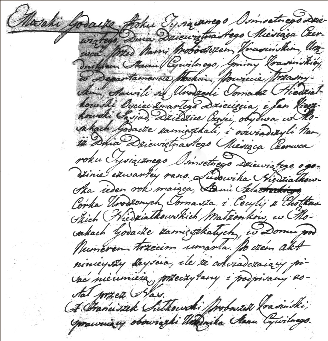 The Death and Burial Record of Ludwika Niedzialkowska - 1809