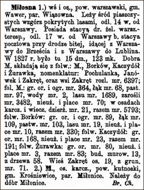 Slownik Geograficzny Entry for Milosna