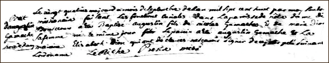 The Birth and Baptismal Record of Augustin Gamache - 1708
