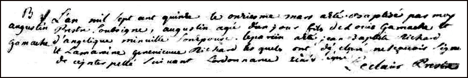 The Birth and Baptismal Record of Augustin Gamache - 1715