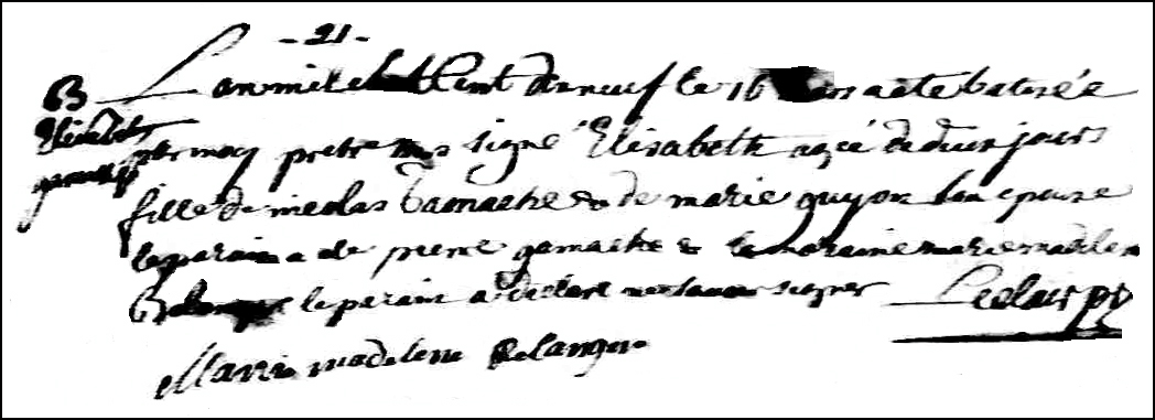 The Birth and Baptismal Record of Elisabeth Gamache - 1719