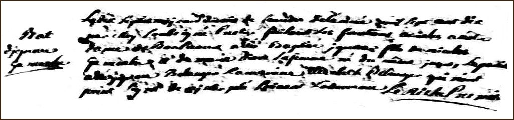 The Birth and Baptismal Record of Ignace Gamache - 1710