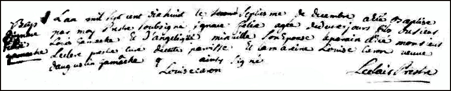 The Birth and Baptismal Record of Ignace Felix Gamache - 1718