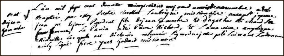 The Birth and Baptismal Record of Jean Gamache - 1712