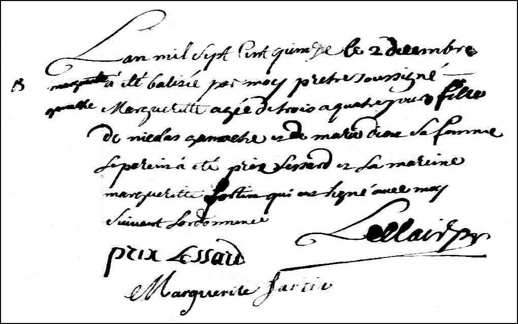 The Birth and Baptismal Record of Marguerite Gamache - 1715