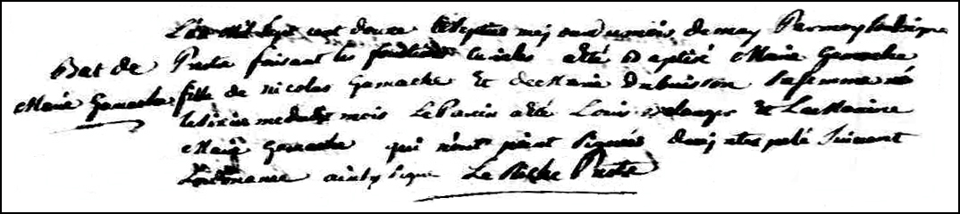 The Birth and Baptismal Record of Marie Gamache - 1712