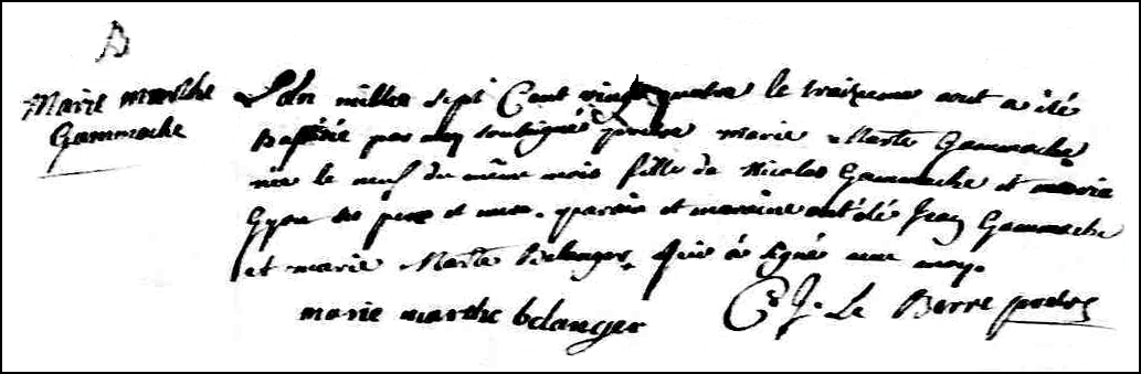 The Birth and Baptismal Record of Marie Marthe Gamache - 1724