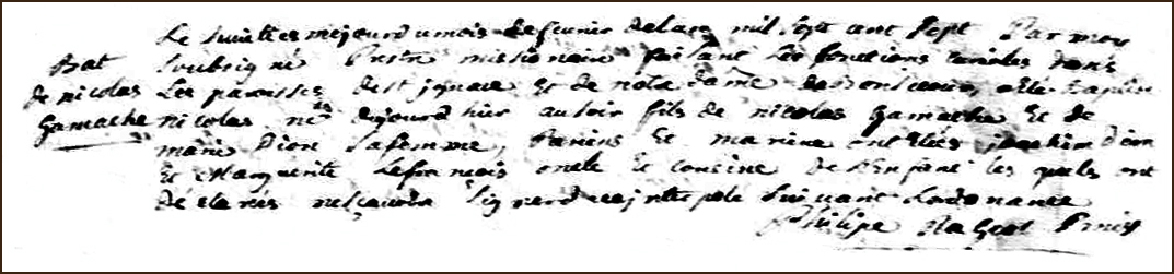 The Birth and Baptismal Record of Nicolas Gamache - 1707