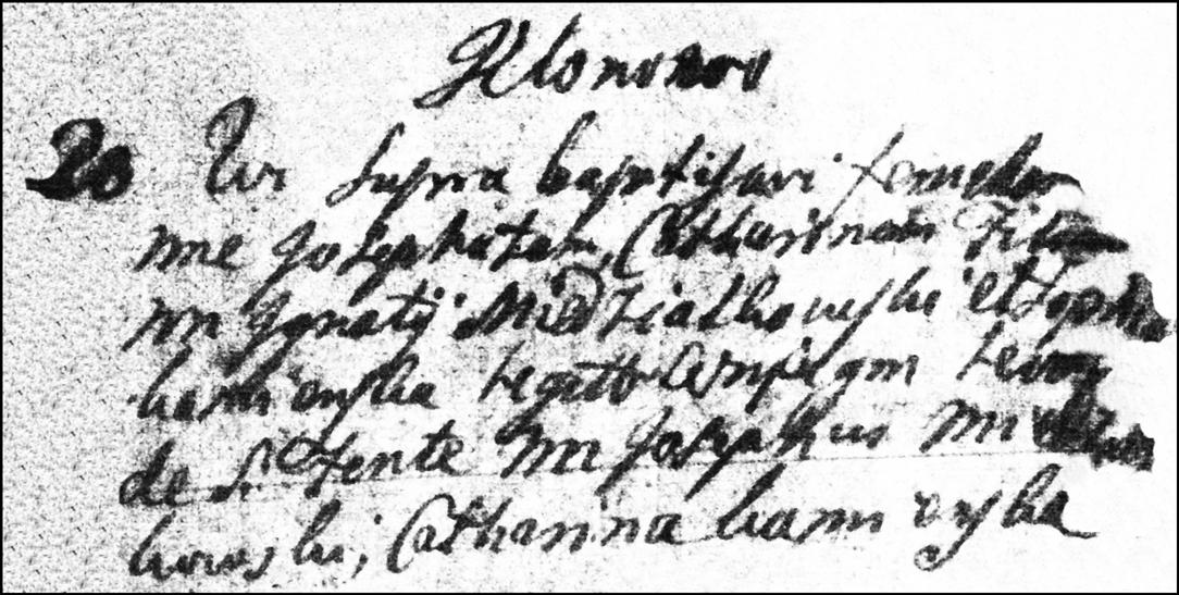 The Birth and Baptismal Record of Jozefata Katarzyna Niedzialkowska - 1755