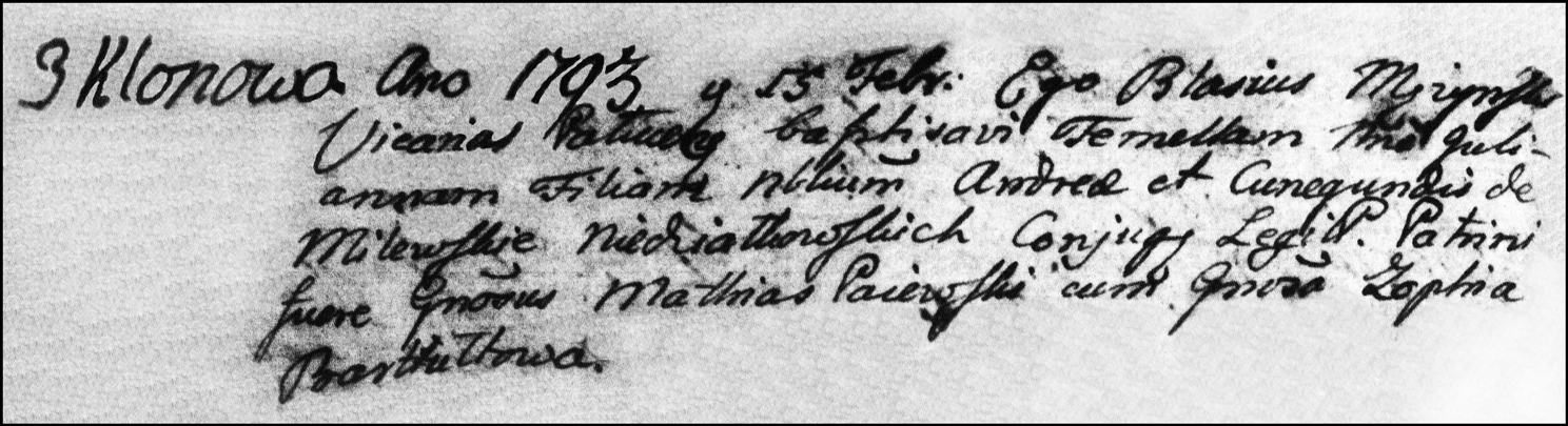 The Birth and Baptismal Record of Julianna Niedzialkowska - 1793