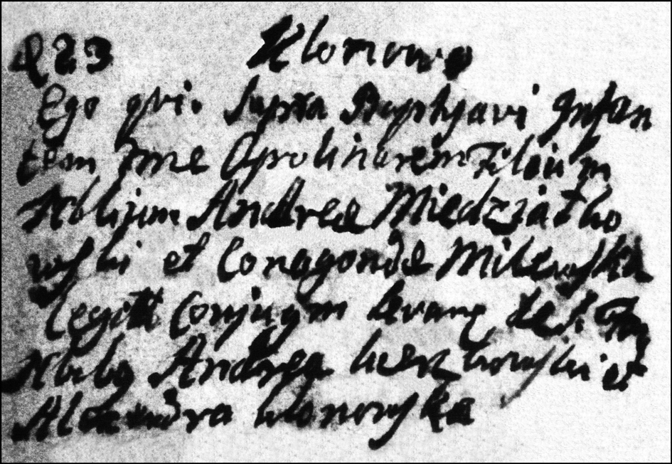 The Birth and Baptismal Record of Apolinary Niedzialkowski - 1780