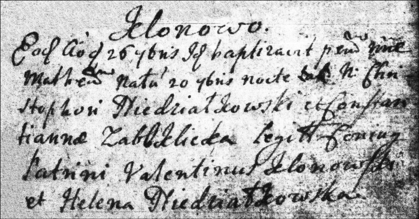 The Birth and Baptismal Record of Mateusz Niedzialkowski - 1723