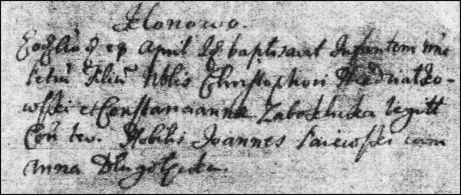 The Birth and Baptismal Record of Piotr Niedzialkowski - 1720