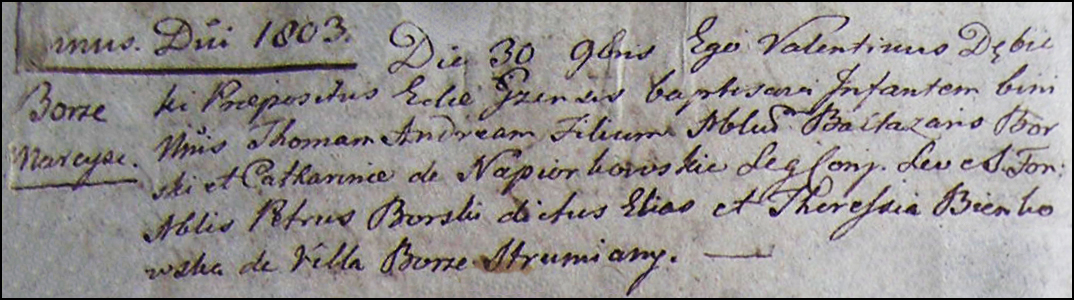 The Birth and Baptismal Record of Tomasz Andrzej Borski - 1803