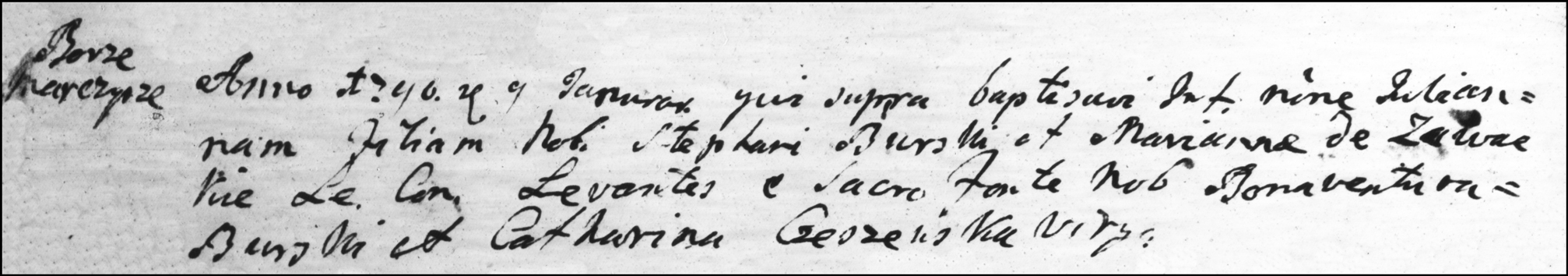 The Birth and Baptismal Record of Julianna Burska - 1790