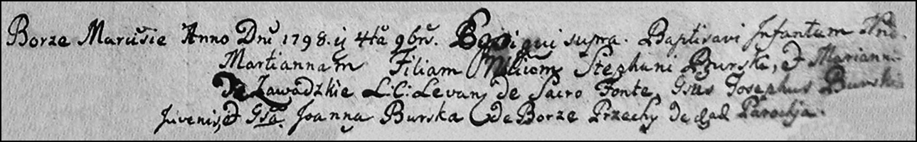 The Birth and Baptismal Record of Marcjanna Burska - 1798