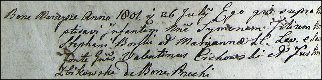 The Birth and Baptismal Record of Szymon Burski - 1801