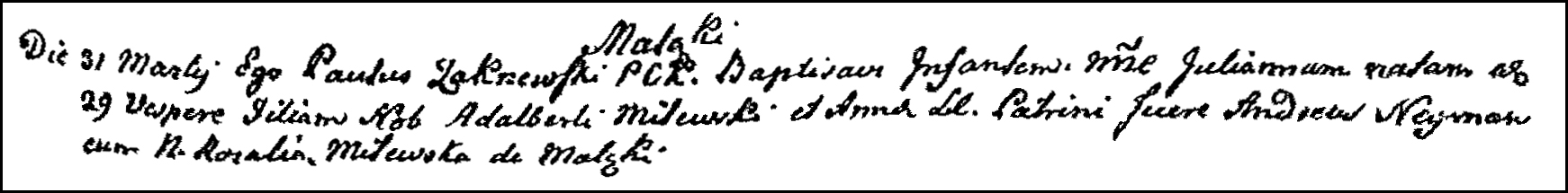 The Birth and Baptismal Record of Julianna Milewska - 1788