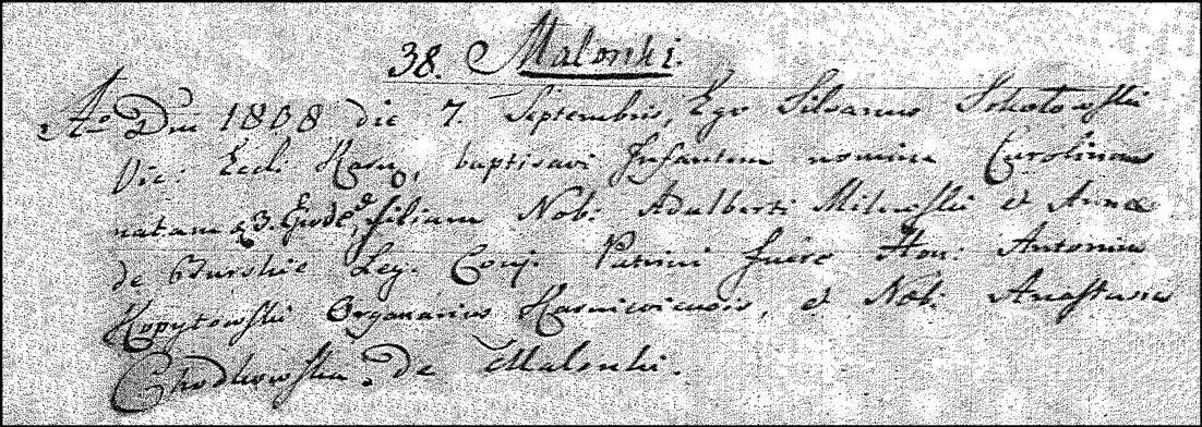 The Birth and Baptismal Record of Karolina Milewska - 1808