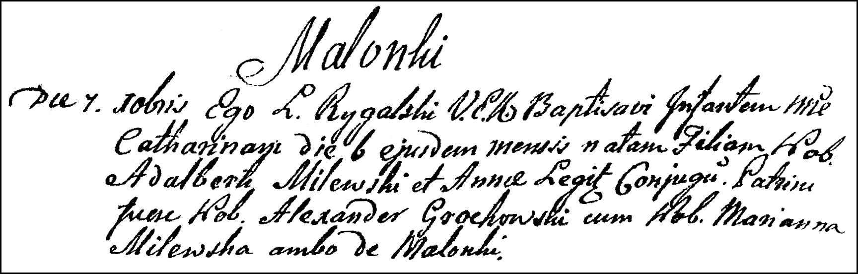 The Birth and Baptismal Record of Katarzyna Milewska - 1801