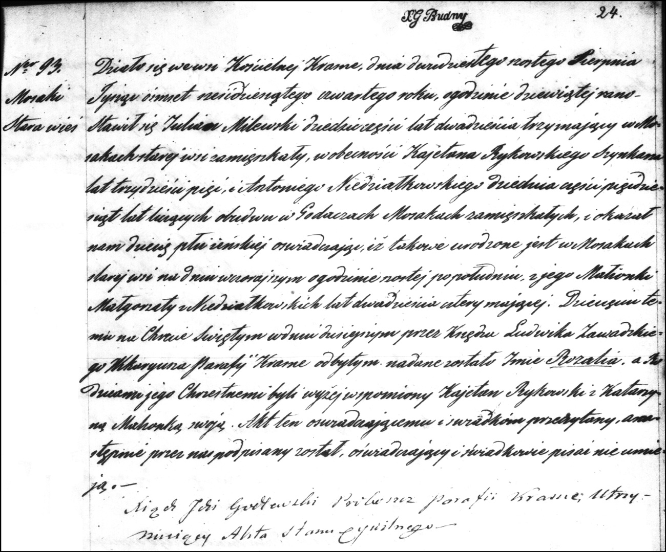 The Birth and Baptismal Record of Rozalia Milewska - 1864