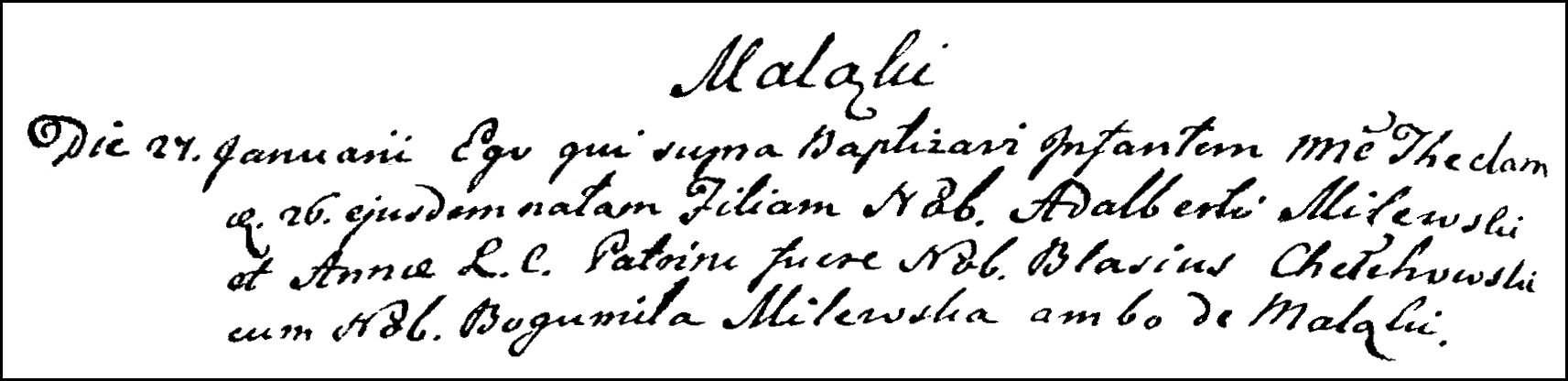 The Birth and Baptismal Record of Tekla Milewska - 1791