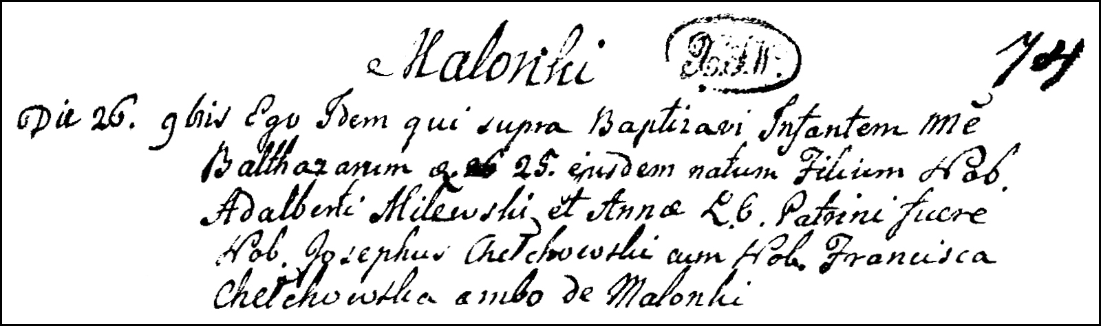 The Birth and Baptismal Record of Baltazar Milewski - 1795
